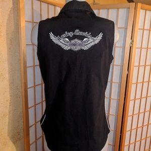 Harley Davidson embroidered button down shirt